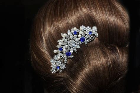 wedding hair accessories blue sapphire blue swarovski bridal hair comb royal