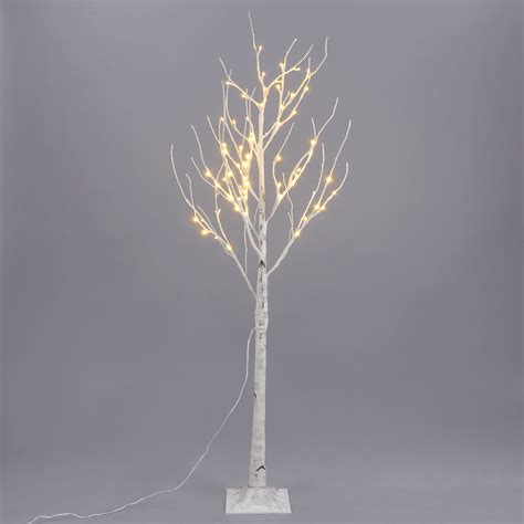 5ft 72led silver birch twig tree light warm white indoor