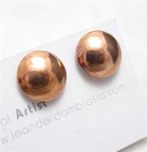 hand made round copper earring small copper dome studs