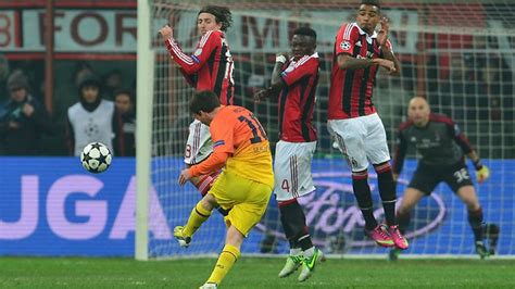 free kick ac milan stuns barcelona with 2 0 win in chions league