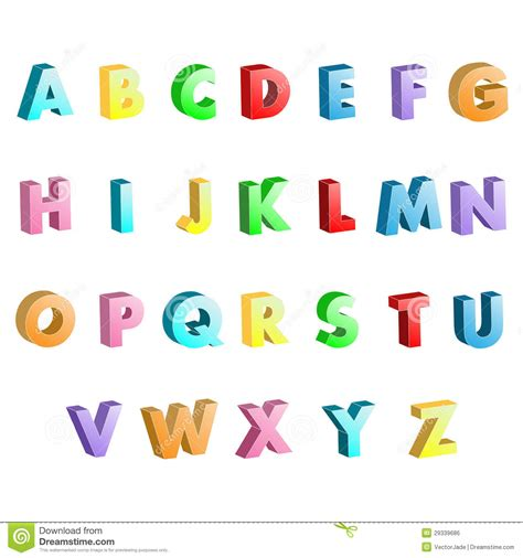 imagenes en 3d letras letras coloridas 3d do alfabeto ilustra 231 227 o stock imagem