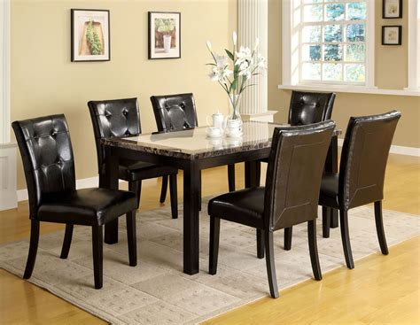 atlas i faux marble top rectangular leg dining room set