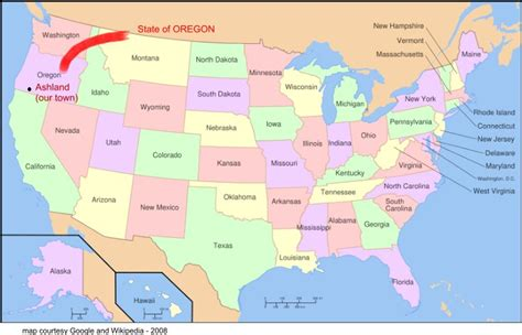 oregon usa map contacts page