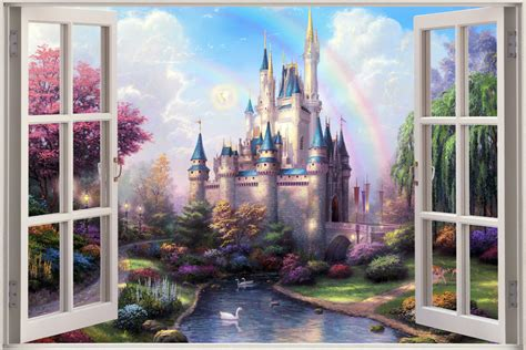 castle wall murals 3d window view castle princess prince wall sticker decal mural ebay