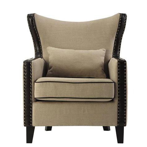 beige leather chair home decorators collection meloni beige linen bonded