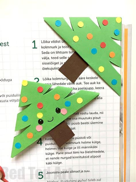 printable christmas origami bookmarks christmas tree bookmark design red ted art s blog