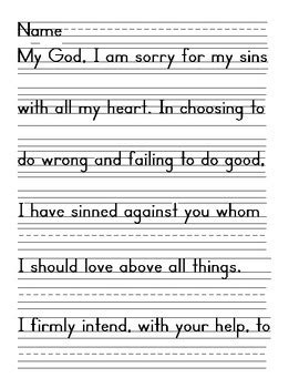 Act Of Contrition Worksheet by Act Of Contrition Prayer Zaner Bloser Handwriting Tpt