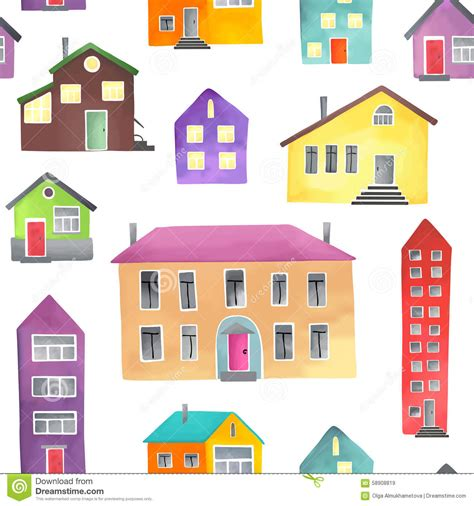 house pattern vector pattern with different houses stock vector illustration