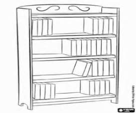 Shelving Bookcase Furniture With Shelves For Books Coloring Page sketch template