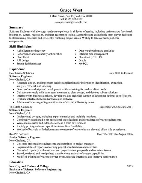 Resume Of Experienced Software Engineer In Testing Best Software Engineer Resume Exle Livecareer