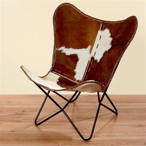 chaise cuir marron fauteuil marron blanc peau de vache fourrure cuir