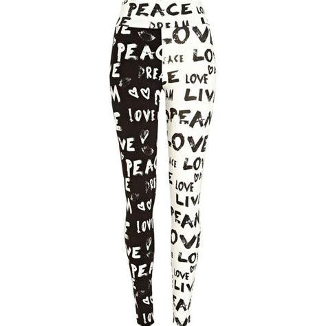 patterned tights river island river island black and white graffiti print leggings 27