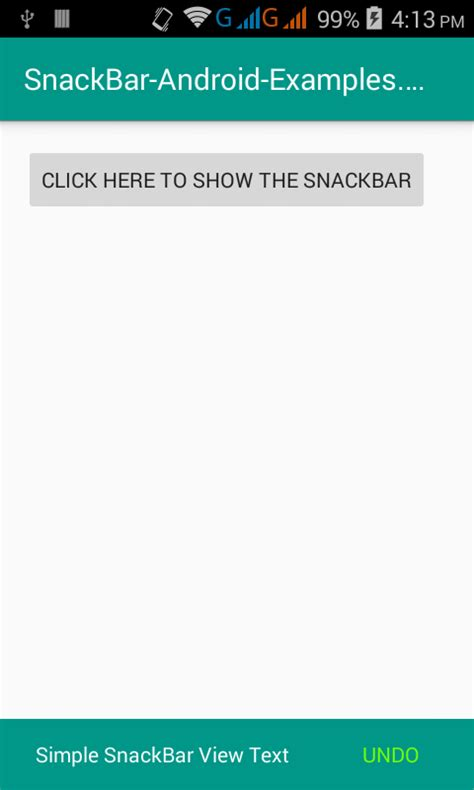 layout snackbar xml android snackbbar with material design exle tutorial