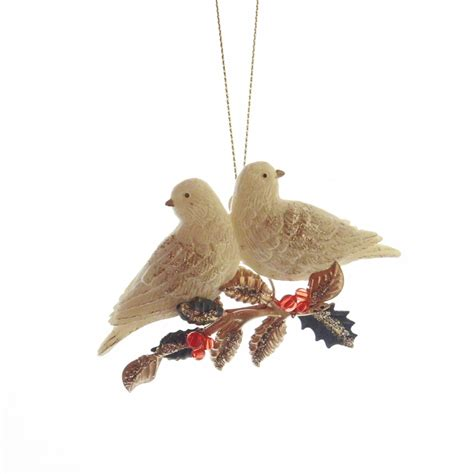 gisela graham resin two turtle doves christmas tree decoration