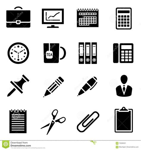 icon design office icon set of black simple silhouette of office supplies in