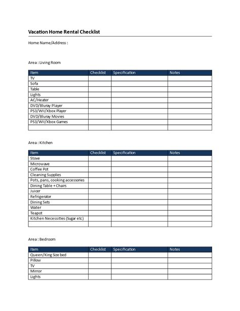 Rental Property Checklist Template by Vacation Home Rental Checklist Vacation Home Rental