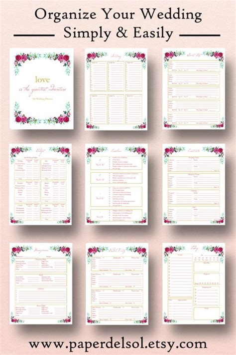 printable planner book printable wedding planner wedding planner printable use