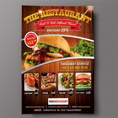 free templates for restaurant flyers restaurant flyer 01 flyer templates on creative market