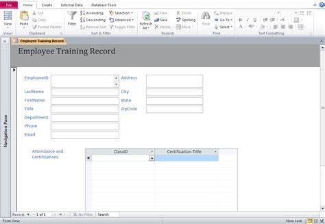 access training database templates employee training database