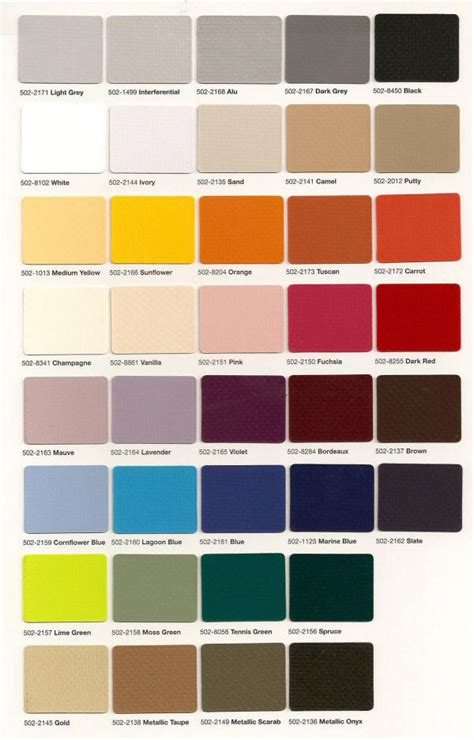pin fabric color chart on