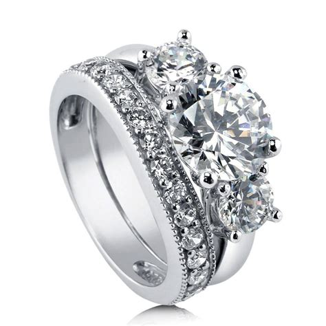 berricle sterling silver cz 3 engagement ring