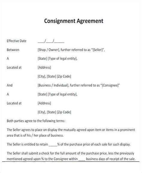 simple consignment agreement template 28 images