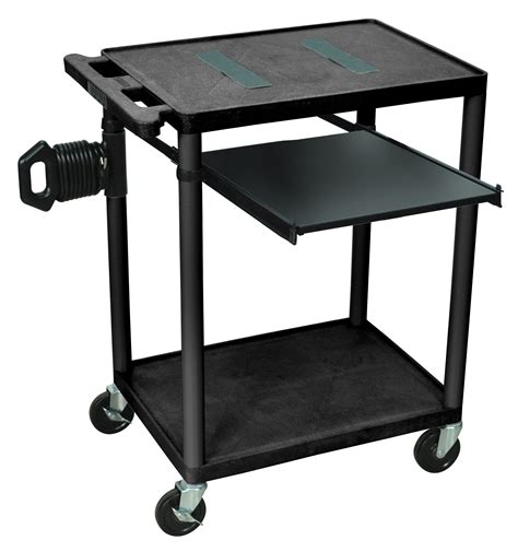 luxor endura mobile computer cart with open shelf
