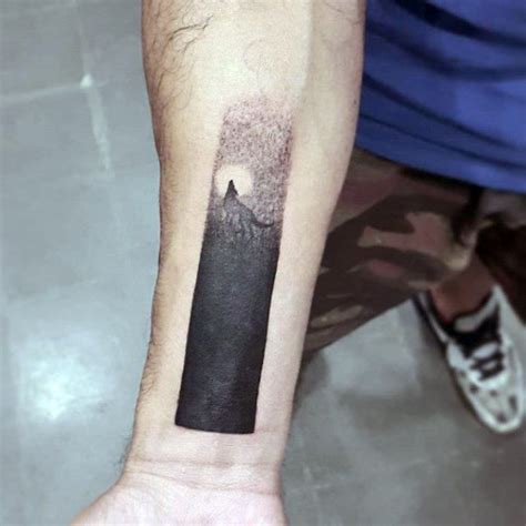 moon tattoos for men small simple mens blackwork inner forearm wrist wolf moon
