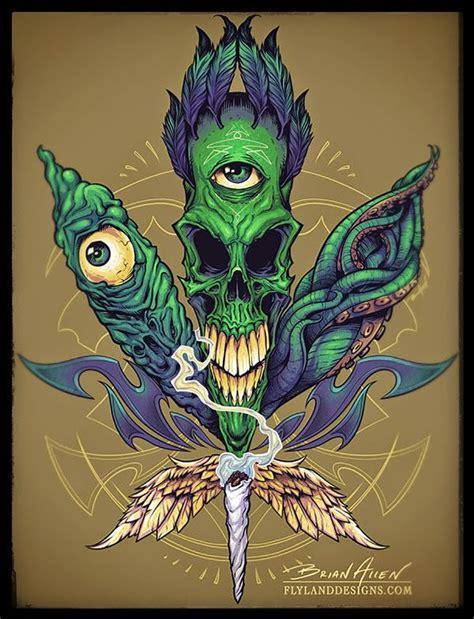 skull pot leaf tattoo designs skull pot leaf t shirt illustration