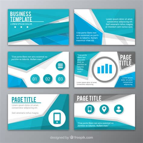 abstract blue presentation template vector free download