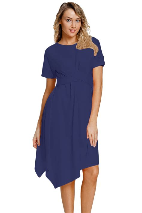 Big Size Navy Babydoll Midi Dress by Fashion Navy Twist Front Jersey Midi Dress