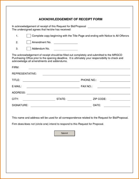 acknowledgement receipt template acknowledgement of receipt formreference letters words
