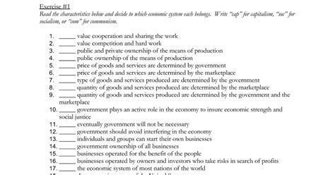 Comparing Economic Systems Worksheet by Capitalism Worksheet Worksheets For School Getadating