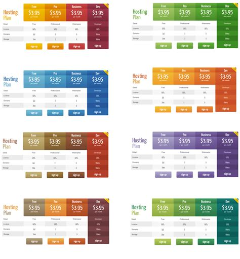 different color schemes wordpress pricing table plugin pro