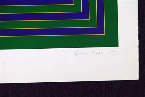 Bian Square brian rice five squares on green 1969 original print