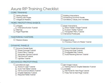 training checklist sle 12 documents in pdf word