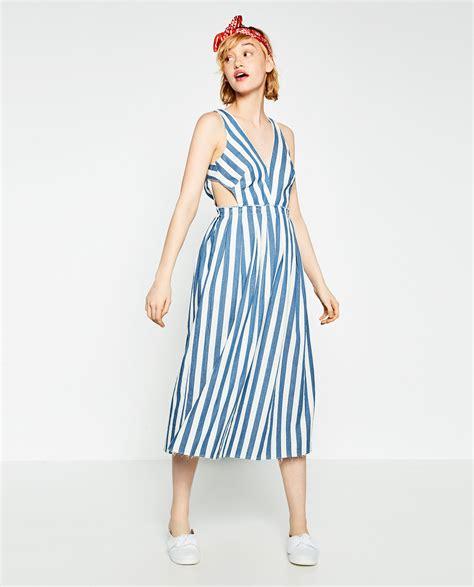 Zara Striped Dress zara striped denim dress in white lyst