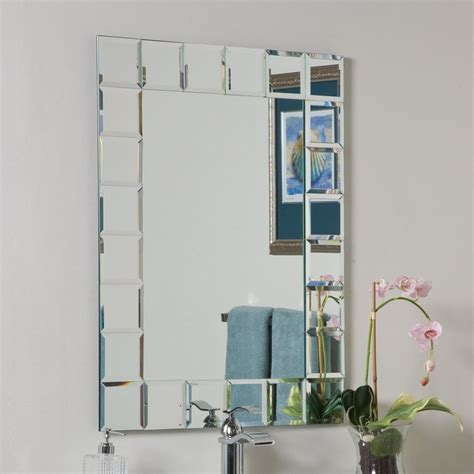 frameless beveled bathroom mirrors shop decor wonderland montreal 31 5 in h x 23 6 in w