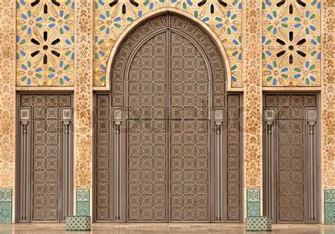 background of detail islamic architecture detail of hassan ii mosque in casablanca morocco stock