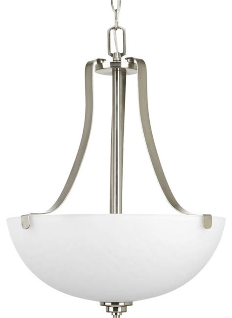Inverted Bowl Pendant Lighting 3 Light Inverted Pendant Etched Marble Glass Bowl Brushed Nickel Transitional Pendant