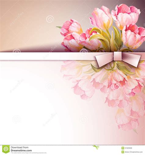 s day flower card template flowers invitation template card stock vector