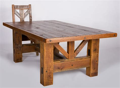 Timber frame dining table salvaged barn wood rustic old