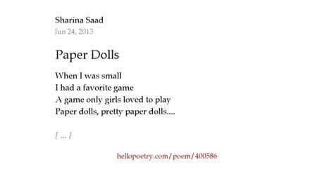 Doll Poem Essay by Paper Dolls By Sharina Saad Hello Poetry