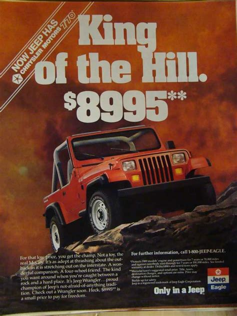 jeep cing ideas jeep quot king of the hill quot retro ad get out there wrangler