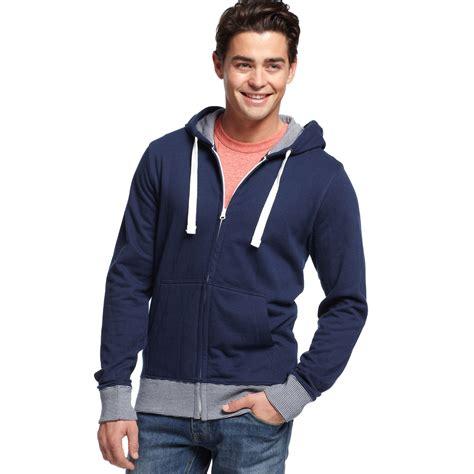 Jaket Sweater Hoodie Zipper Wolfskin Wolf Skin lyst american rag striped trim zip front hoodie in blue for