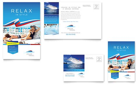 cruise travel postcard template word publisher