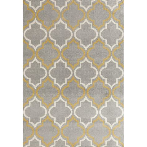 Gray Yellow Area Rug World Rug Gallery Modern Moroccan Trellis Gray Yellow 7 Ft 6 In X 9 Ft 5 In Area Rug 9101