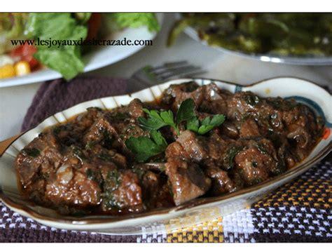 cuisine algeroise foie en sauce kebda mchermla les joyaux de sherazade
