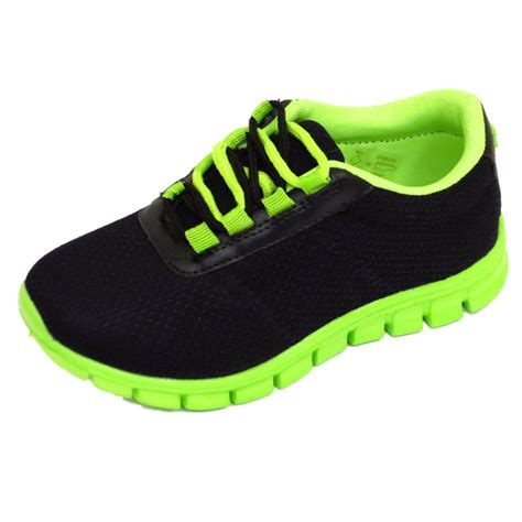 boys childrens black school trainers lace flat