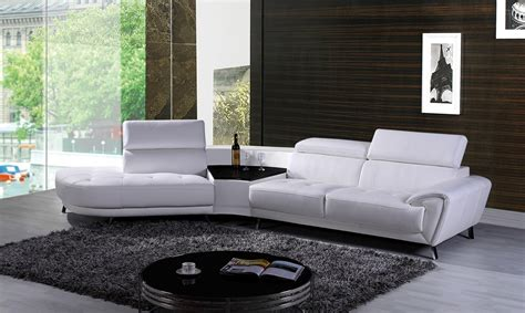modern leather sectional with chaise divani casa raizel modern white leather sectional sofa w
